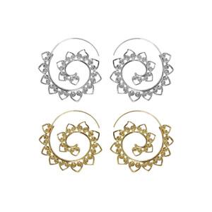 Hoop Earrings Spiral Brass Earring for Women Fashion Tribal Ethnic Ear Jewelry