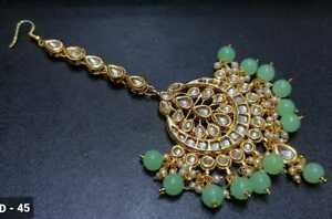 Indian Bollywood Gold Tone Sea Green Maang Tikka Kundan Jewelry Head Accessory