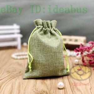 """12/25/50/100pcs Natural Linen Burlap Jute Sack Drawstring Bags Pouches 5.5""""x4"""""""