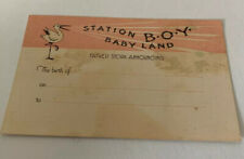 Vintage Station Boy Baby Land Stork Announcing Birth 4� X 2.5�