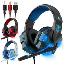 Stereo Gaming Headset Mic LED Headphones Earphone 3.5mm Surround PC Xbox One PS4