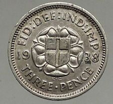 1938 Uk Great Britain United Kingdom George Vi Threepence Silver Coin i56877
