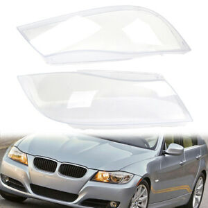 Pair Front Headlight Headlamp Clear HID Lens Plastic Cover For BMW E90 2005-2012