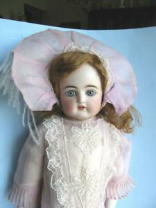 """Antique 24"""" Bisque Turned Shoulder Head Doll-Stunning Red Head-Blue Eyes"""
