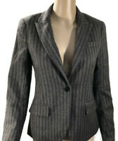 Theory Blazer Womens Sz 4 Gray Pinstripped Button Front Faux Pockets Long Sleeve