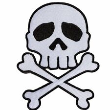 Kreepsville 666 Skull Cross Bones White Patch Iron Gothic