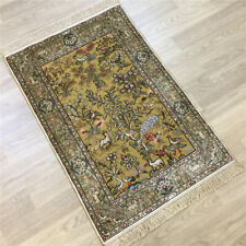 Yilong 2'x3' Golden Silk Hand-knotted Carpets Tapestry Handmade Area Rugs 220B