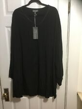 Ulla Popken Selection Plus Size Dressy Black Long Sleeve Blouse, Size 28/30, NWT