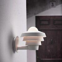 Außen Wandlampe Wandleuchte Außenlampe rund hygge Terrassen Lampe weiß E27