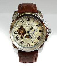 Superior 44mm Tourbillon Automatic Complication GMT Polished Steel Dress Watch