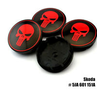 4x 56mm Punisher Nabendeckel Felgendeckel Nabenkappen für Skoda 5JA601151A