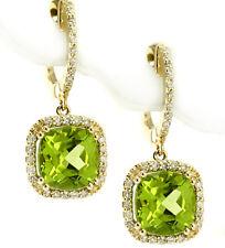 GREEN CUSHION-CUT PERIDOT & DIAMOND HALO DANGLE DROP EARRINGS 14K YELLOW GOLD