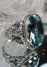 *Aquamarine*& Pearl Sterling Silver Art Nouveau Floral Filigree Ring Size 9