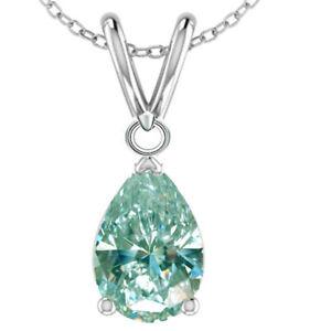 1.24 Ct vvs1+WHITE BLUE PEAR MOISSANITE DIAMOND 925 Sterling SILVER PENDANT