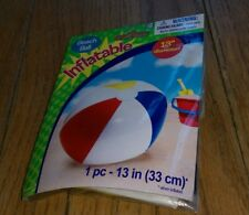 """Beach Ball Inflatable 13"""" Diameter Pool Toy Amscan Brand New Sealed Ballon Plage"""