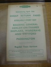 15/04/1960 Railway Handbill: Western Region - Cheap Return Fares from Reading Ge