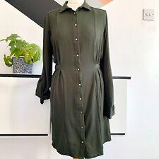 RIVER ISLAND Shirt Dress Size 10 KHAKI GREEN  | SMART Tunic CASUAL