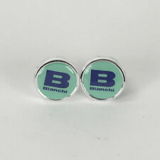Vintage style Bianchi celeste blue B handlebar end plugs - eroica bars