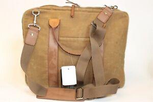 Dopp Brand Gear Bag NEW Brown Waxed Canvas Slim Business Messenger Travel Bag