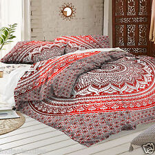 Indian Duvet Cover Red Ombre Mandala Hippie Bohemian New Quilt Blanket Cover