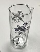 "Glass Martini Cocktail 7"" Pitcher w/waterfowl decor"