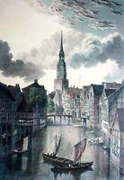 HAMBURG - KATHARINENKIRCHE UND FLEET - kolor. Grafik um 1850 - VARRALL n. BATTY