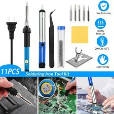 11xSoldering Iron Kit Electric Wire Solder Temperature Gun 60W 110V Welding Tool