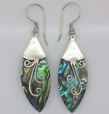 Handmade ABALONE Shell Marquise Dangle Earrings in 925 Steling Silver
