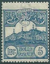 * San Marino 1903: VEDUTA Lire 5 [45; MLH] Centrato €680