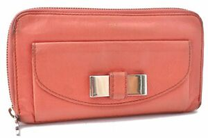Authentic Chloe Ribbon Leather Wallet Pink A7024