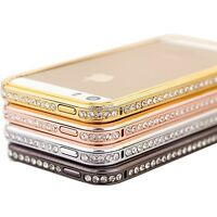 DIAMOND CRYSTAL BLING METAL ALUMINUM BUMPER CASE COVER FOR IPHONE 4S 5 5S