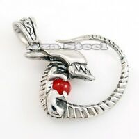 MEN'S ALIEN INVADER RUBY RED CZ 316L Stainless Steel Pendant w/ Chain Necklace