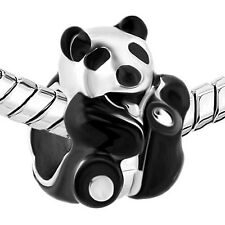 Silver Plated And Black Enamel Panda Charm Fit For European Charm Bracelets