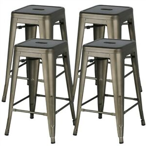 24'' Metal stools Counter Kitchen Stools Set of 4 Backless Stackable Bar Stools