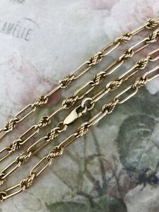 """Vintage 9ct Yellow Gold Paperclip & Knot Link Chain Necklace 20"""" ~ B0531"""