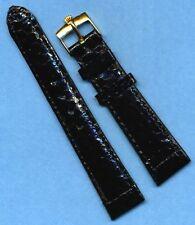 Rolex Gold Buckle & 20mm Genuine Black Snake Skin Strap Band For Datejust