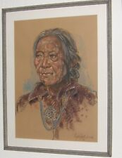 "Signed JON LIGHTFOOT Original Oil Pastel Framed ""GRANDMOTHER""  2008"