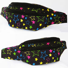 Colorful Stars Fanny Pack Black Waist Belt Bag Hip Pouch Festival Rave Concerts