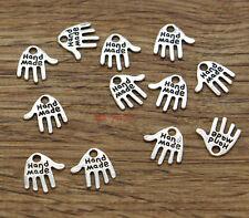 100 Hamsa Hand Charm Fatima  Hand Made Lucky Hnd Antique Silver Tone 12x12 2097