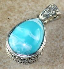 SILVER Vintage Style Sky Blue Jasper Teardrop Pendant Jewelry Woman Gift
