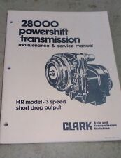 Clark 28000 Powershift transmission maintenance & service manual HR Model -3spd