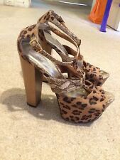 SHUBAR Womens 7.5 38 Platform Shoes Wooden Wedges High Heels Leopard Animal