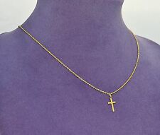"14K Gold Petit CROSS and 14K 18"" Rope CHAIN"
