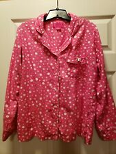 Victoria Secret Pajama 2 Piece Set SMALL Pink White Long Sleeve Button Front