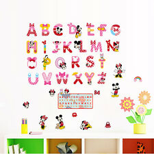 DIY ABC Mickey Minnie Wall Stickers PVC Mural Alphabet Decals Kids Nursery Decor