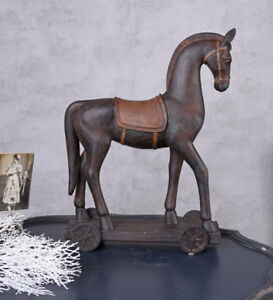 Pferd auf Rädern Pferdefigur Statue Tierfigur Vintage Skulptur Weihnachten 44cm