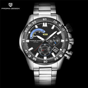 PAGANI DESIGN Day Noctilucent 316L Stainless Steel Men Quartz Watch Gift Box