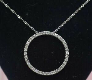 14K White Gold 20 inch Twist Necklace with a Ring of Diamonds Pendant. 3.3g