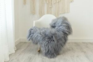 Real Sheepskin Rug Chair Cover Sheepskin Throw Sheep Skin Gray #ebicel1