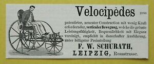 IL1b) Werbung Leipzig 1869 Reklame Velocipedes Patent neu Bewegung Schurath 4x12